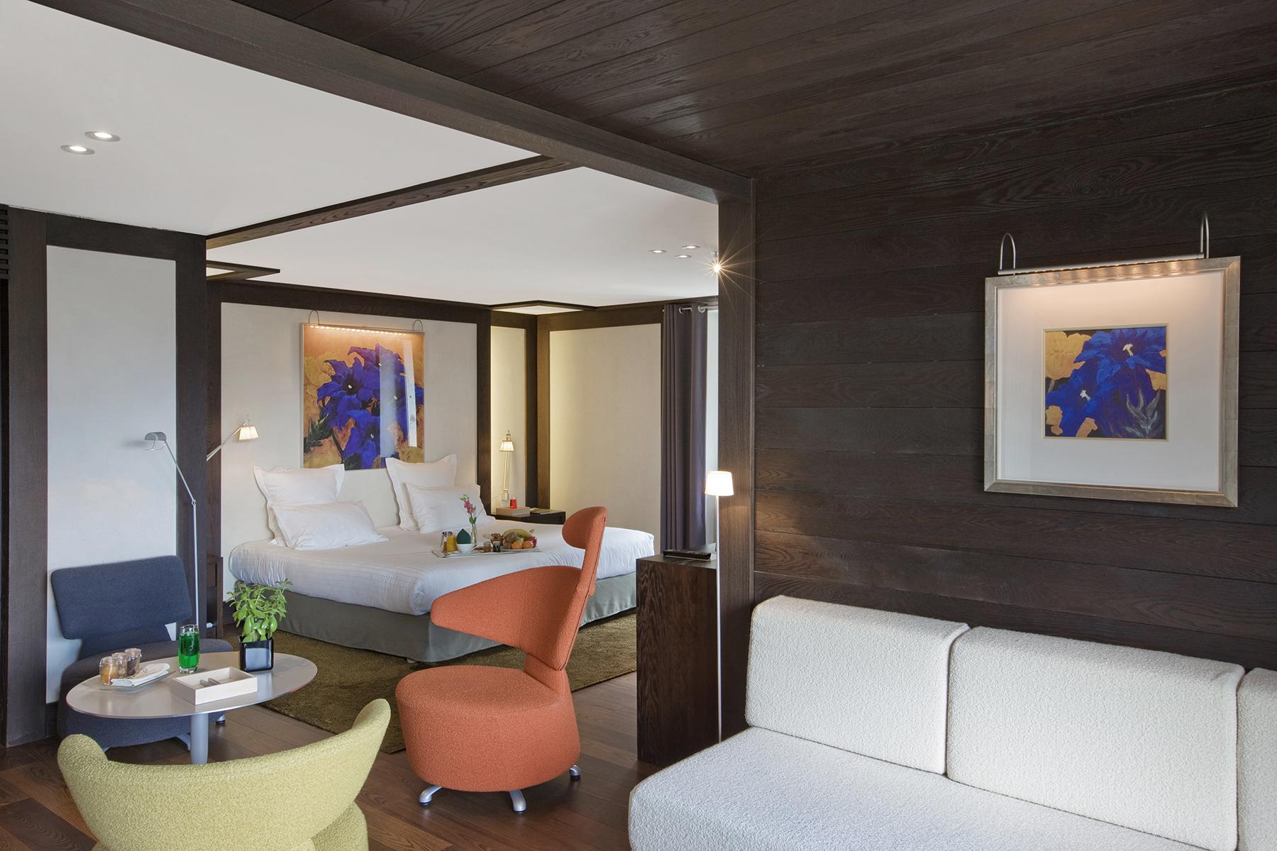 chambre luxe avec chemin e hameau albert 1er. Black Bedroom Furniture Sets. Home Design Ideas